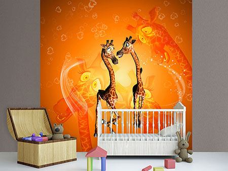 Papier peint photo Girafes enfants