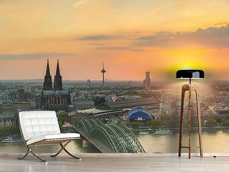 Photo Wallpaper Skyline Cologne At Sunset