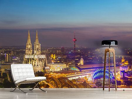 Photo Wallpaper Skyline Cologne Cathedral At Night