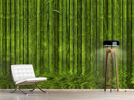 Photo Wallpaper Water Reflections Bamboo