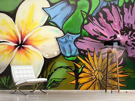 Photo Wallpaper Graffiti Flowers