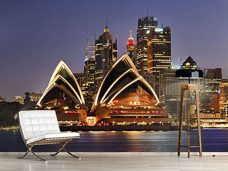 Photo Wallpaper Skyline With The Boat In Front Of Sydney