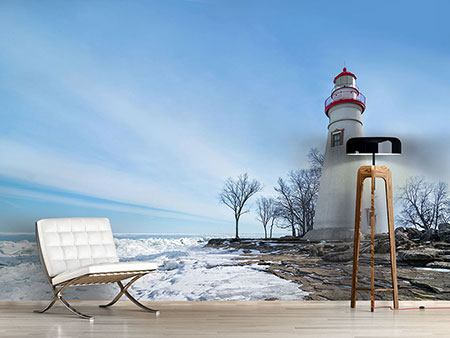 Photo Wallpaper Lighthouse In Snow