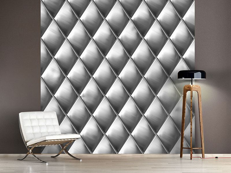 Photo Wallpaper 3D Lozenges Silver-Grey