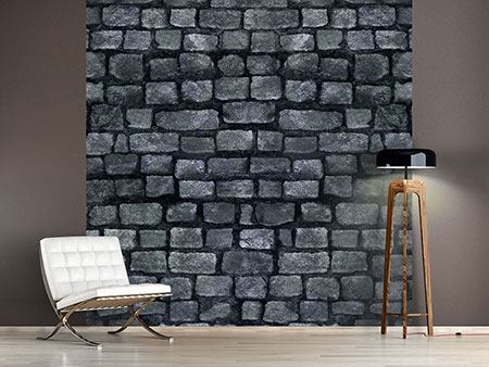 Photo Wallpaper Grey Stone Wall