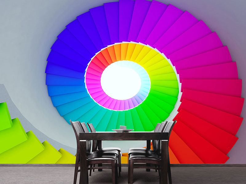 Photo Wallpaper Colorful Spiral Staircase 3D