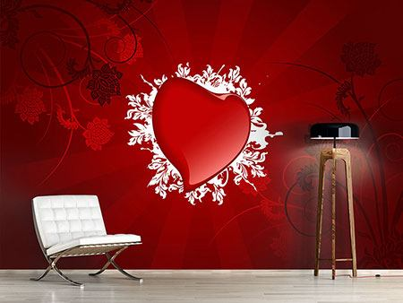 Photo Wallpaper Flying Heart