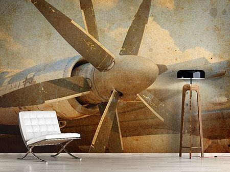 Photo Wallpaper Propeller Plane In Grunge Style