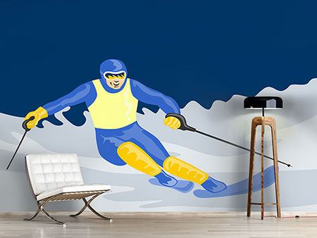 Photo Wallpaper Skier In Retro Style
