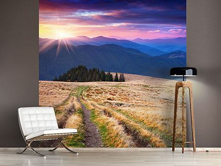 Photo Wallpaper Sunset In The Mountain Scenery