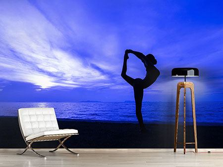 Photo Wallpaper Yoga Exercise On The Beach