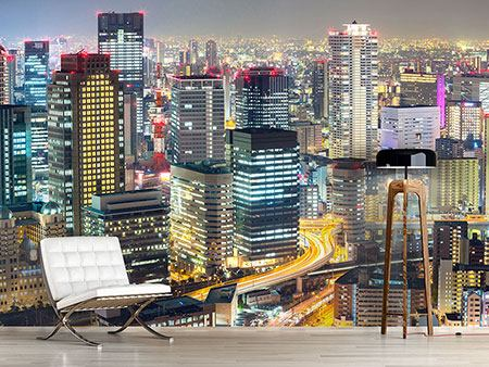 Photo Wallpaper Skyline Osaka In Sea Of Lights