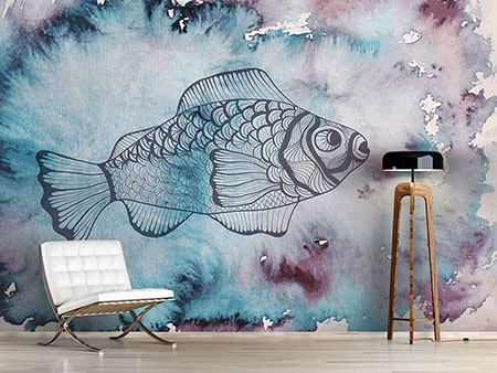 Photo Wallpaper Fish Watercolor
