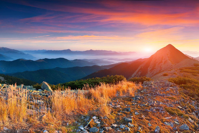 Fototapete Sonnenuntergang in den Alpen